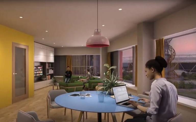CGI students in a cgi mock up of the common rooms with three sided views of the olympic park