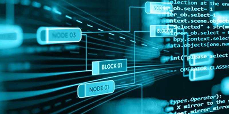 Software defined network schematic on futuristic screen