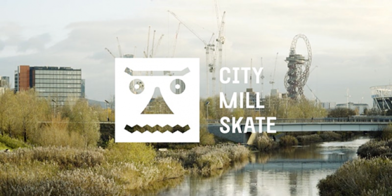 City Mill Skate logo against a background of the Queen Elizabeth Olympic Park