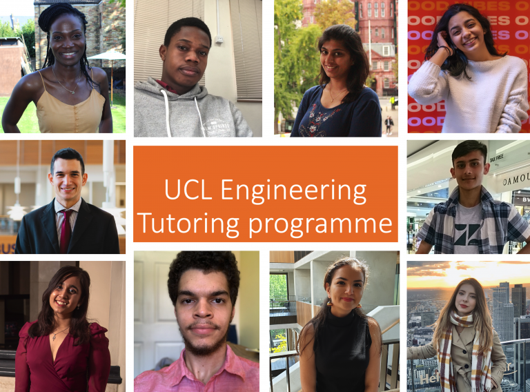Collage of headshot photos of Engineering students involved with the tutoring programme.