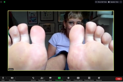 Screenshot of Helena's toes in a Zoom workshop with young people.