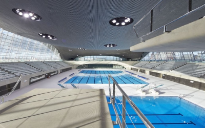 CGI render of the Olympic swimming pool at the London Aquatics Centre.