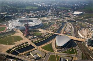 Aerial view of Queen Elizabeth Olympic Park from the south, with view of the Aquatics centre, the Arcelor Mittal Orbit and the Stadium.