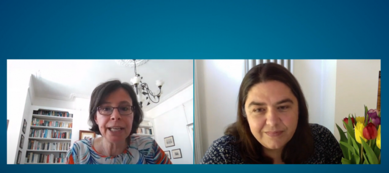 Screenshot of Paola Lettieri and Kate Jones at the start of a virtual Lunch Hour Lecture