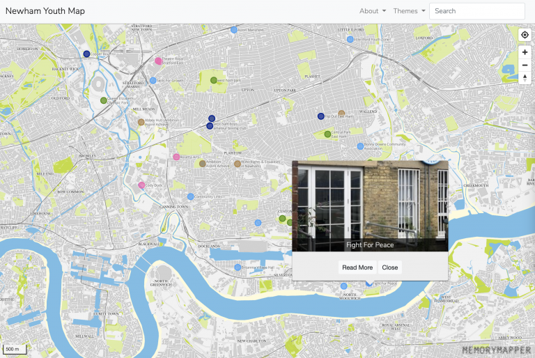 Screenshot of the Newham Youth Map