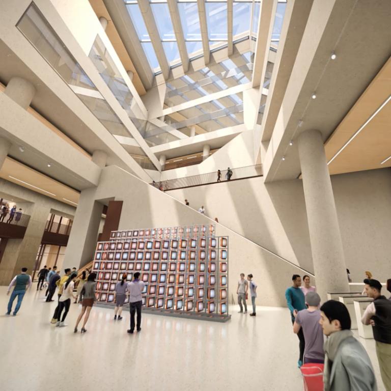 UCL East campus atrium architectural render.