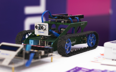 Prototype of a robot on tracks.