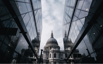 View of St. Paul's Cathedral from the Cheapside shopping centre.