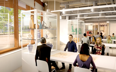 Architectural render of collaboration space at UCL East.