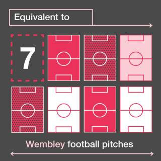 Equivalent to 7 wembley football pitches infographic