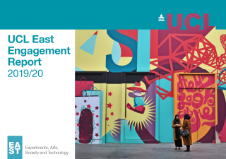 Cover page, showing two women speaking in front of a street art mural, of the UCL East engagement 2019/20 annual report.