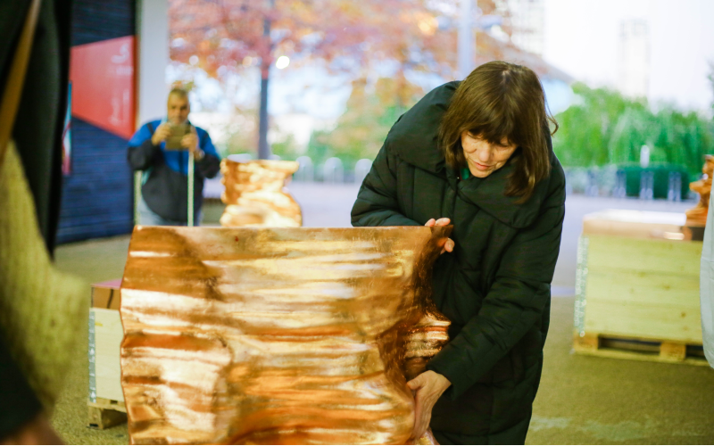 A participant at a Trellis exhibition