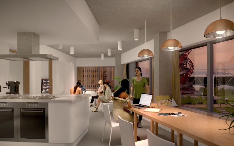 UCL East interior architectural render of a social space.