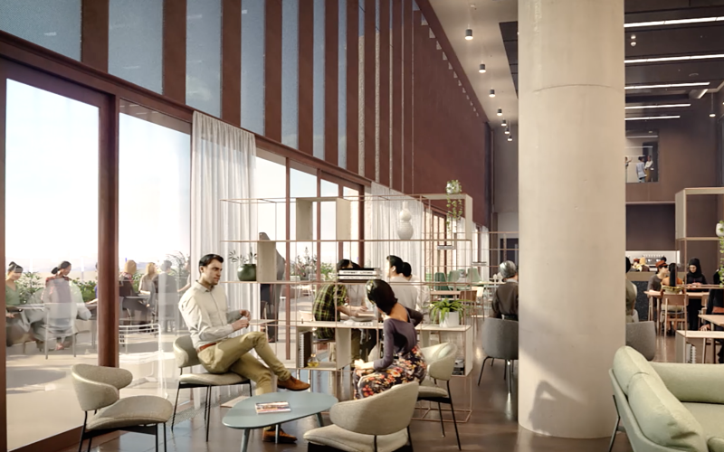 UCL East interior architectural render of a casual working space.