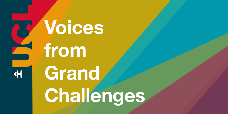 Graphic for Voices from Grand Challenges podcast