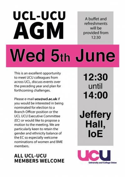 UCL UCU AGM 5th June 2019