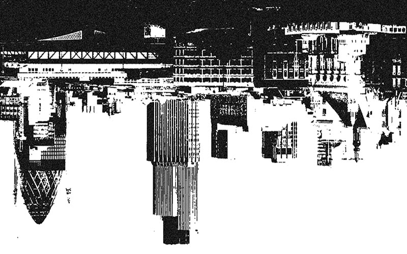 Illustrated skyline image of the CIty of London flipped upside down
