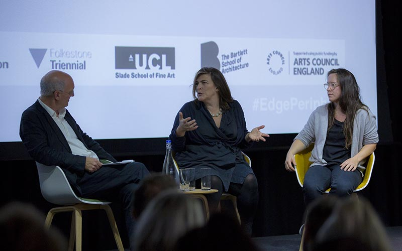 Lewis Biggs, Liza Fior and Amica Dall on stage at the EDGE: Periphery symposium at Here East in October 2017. Credit: Jacob Fairless Nicholson