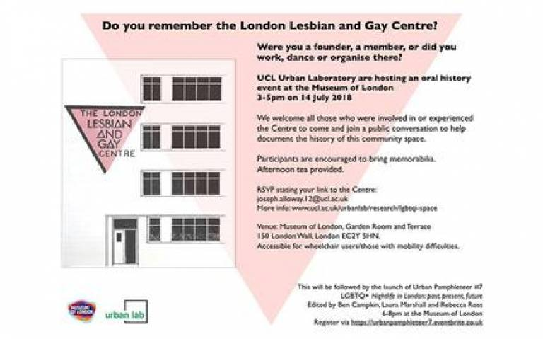 Centre Pieces flyer - a public, documented Conversation on the London Lesbian and Gay Centre