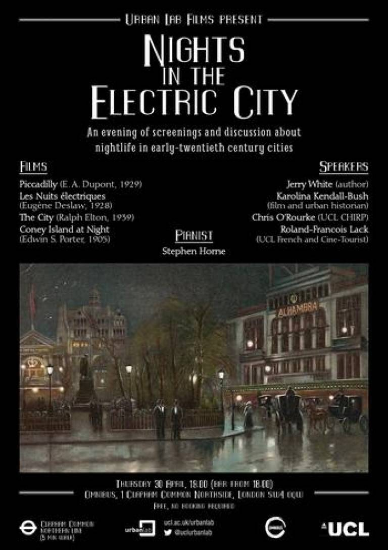 Urban Lab Films present Nights in the Electric City (poster)