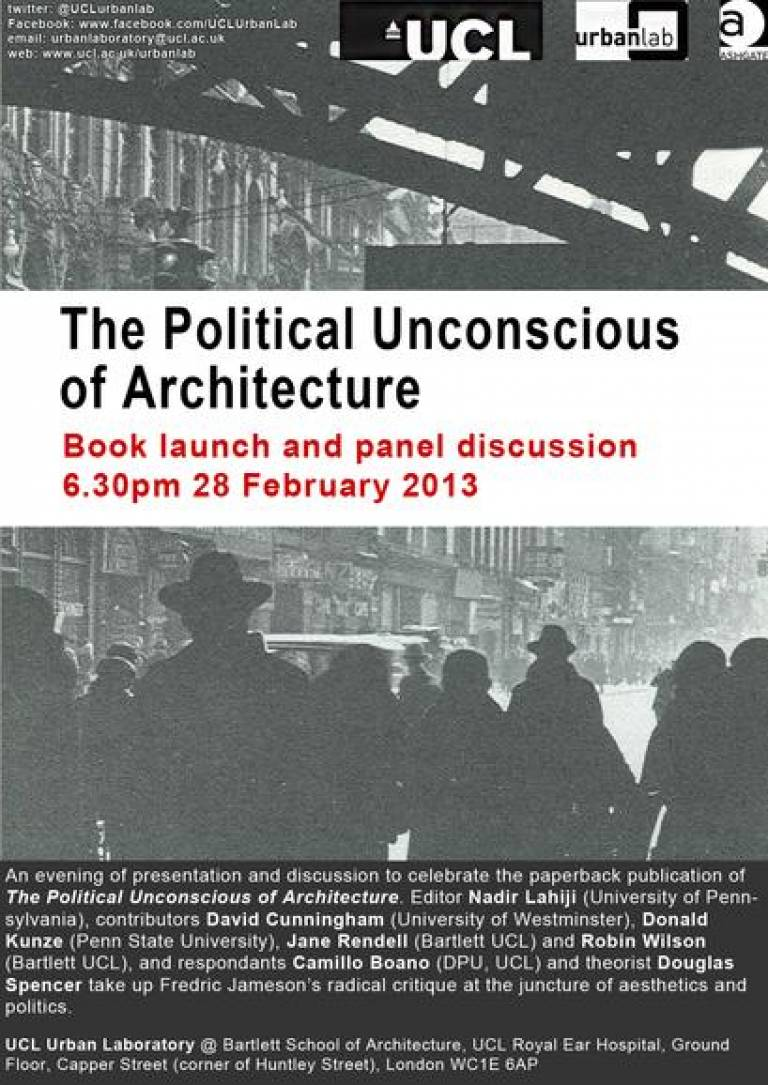 The Political Unconscious of Architecture launch