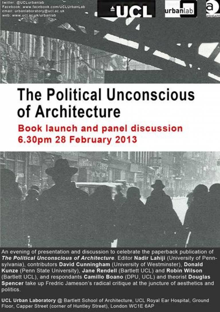 The Political Unconscious of Architecture launch