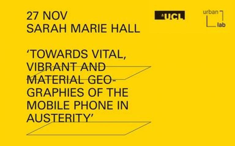 Urban Laboratory Lecture Series - Sarah Marie Hall