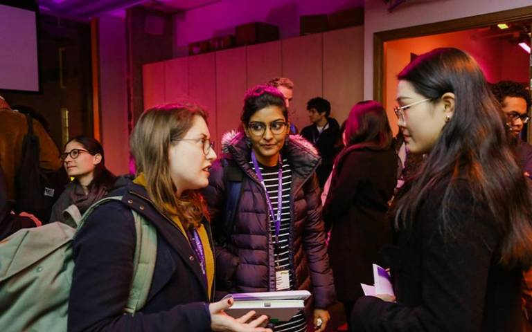 People chatting at the Thinking London from Elsewhere launch event of At the Frontiers of the Urban conference in November 2019