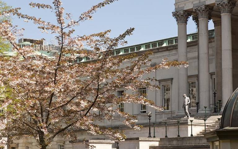 UCL portico and quad in Spring, © UCL Media Services - University College London