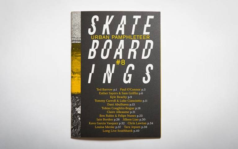 Urban Pamphleteer #8: 'Skateboardings' cover (credit: Max Colson / UCL Urban Laboratory)
