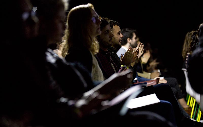 Audience members clapping at the EDGE: Periphery symposium at Here East in October 2017. Credit: Jacob Fairless Nicholson