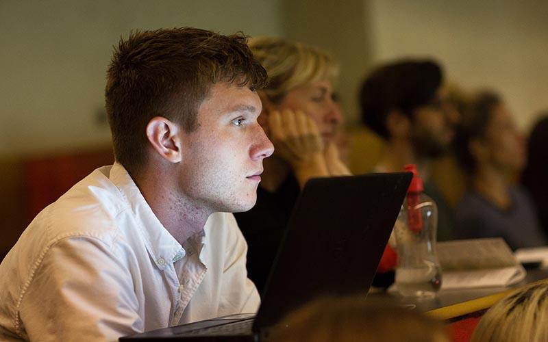 Audience member at Edge Gateway symposium