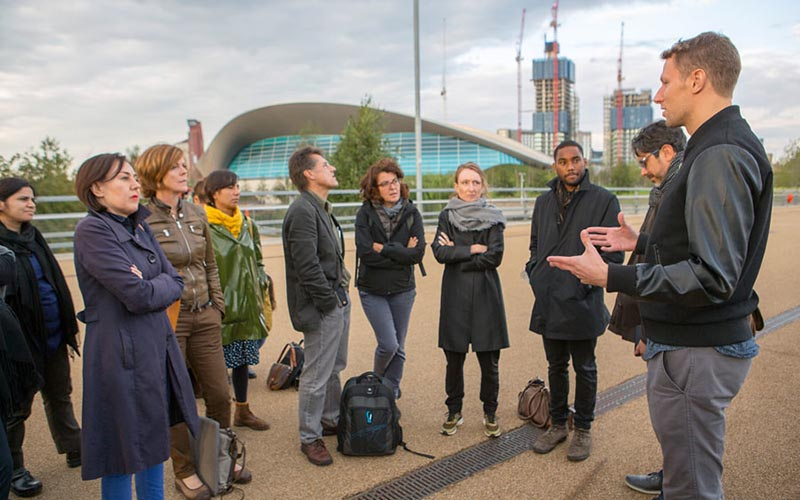 Urban Lab+ Network visit to the Queen Elizabeth Olympic Park with Ben Campkin