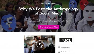 社交媒体的人类学研究(The Anthropology of Social Media)是在我们的研究基础上设立的免费在线课程,历时五周。